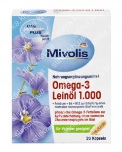 Капсулы Mivolis Omega 3 с льняным маслом 30 шт., Германия