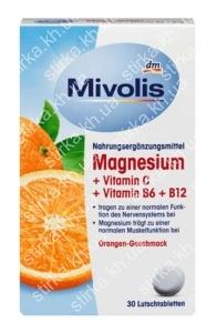 Комплекс Mivolis с магнием, Витамином С, В6, В12, 30 шт., Германия