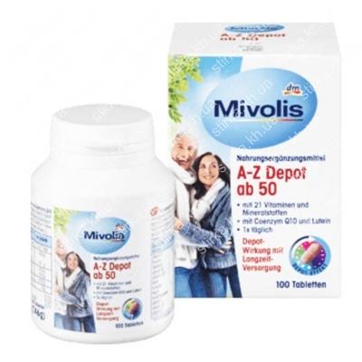 Витамины Mivolis AZ Depot ab 50, 100 шт., Германия